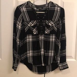 Plaid black and white lace up top